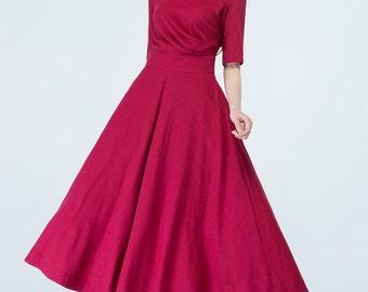 dress, red dress, asymmetrical dress, pleated dress, maxi dress, fitted dress, summer dress, casual dress, ladies dresses 1705