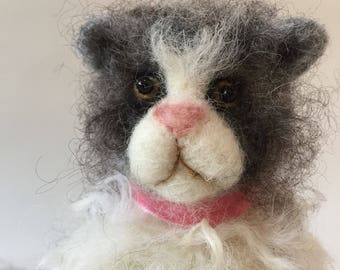 Maud the Needle Felted Fluffy Grey & White Cat Sculpture