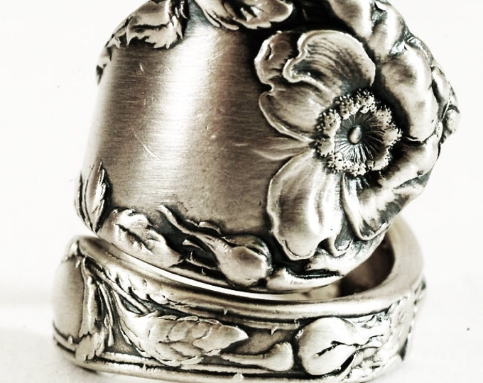 Wild Rose Ring, Antique Sterling Silver Spoon Ring by Reed & Barton ca 1900, Chunky Ring, Floral Gift for Her, Adjustable Ring Size (6730)