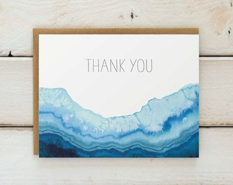 Geode Thank You Cards, Agate Thank You Card Set, Watercolor Cards, Watercolor Thank You Notes, Geode Cards, Thank You Notecards, Set of 10
