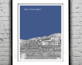 San Francisco Poster Print Skyline Art California CA Fisherman's Wharf Item T1196