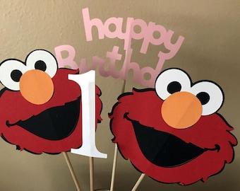 Elmo Party Centerpiece, Elmo Centerpiece Sticks, Sesame Street Centerpiece, Elmo Girl 1st Birthday, Elmo 1st Birthday, Elmo Party Decoration