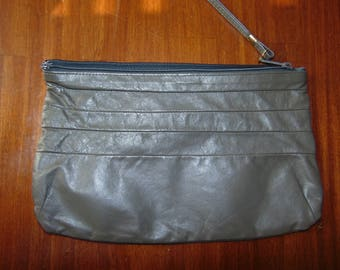 Vintage Gray Leather Clutch Purse