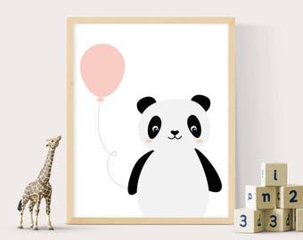 Panda print, Panda bear, Nursery prints, Kids room prints, Kids wall art, Prints for nursery, Panda baby gift, Bear prints, Nursery decor