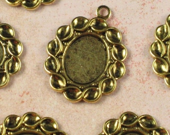 12 Antique Gold Cameo Setting 10x8 Jewelry Setting Supplies 623