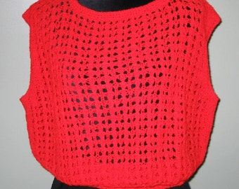 Ladies Large Red Open-Work Lacy Vest