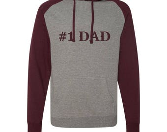 Custom Embroidery #1 Dad Raglan Hooded Sweater Hoodie