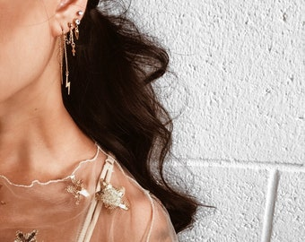 Threader earrings, Gold threader earrings, Gold chain earrings, Lightning bolt earrings, Lightning earrings, Dainty earrings