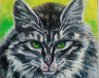 """Oil Painting Green Eyed Cat Pet Portrait 4"""" x 4"""" Heavy Duty Gallery Wrap Canvas Ready to Ship"""