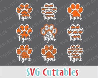 Tigers svg, Tigers paw print, paw print svg, dxf, eps, png, Tigers cut file, Silhouette file, Cricut cut file, Digital download