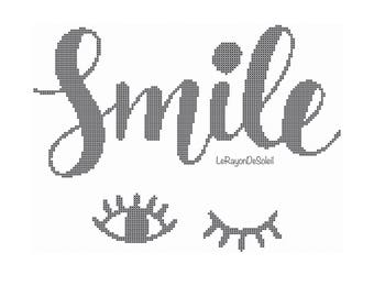 modern cross stitch pattern smile eyes, PDF Instant download.