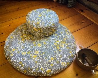 Meditation cushions sit set Gray with Mustard Flowers Zafu Zabuton combo cushion mat organic Buckwheat pillow handmade by Creations Mariposa