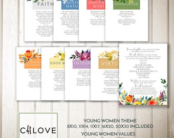 Young Women Values + YW theme - LDS Young Women Values - INSTANT digital downloads