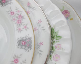 Mismatched China Dessert Plates, Mismatched Bone China Plates, China Bread Plates, set of 4
