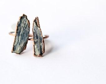 Kyanite Ring - Raw Kyanite Ring - Kyanite Copper Ring - Kyanite Electroformed Ring