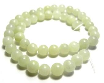 Round Polished New Jade Beads - Real Gemstone - 8mm