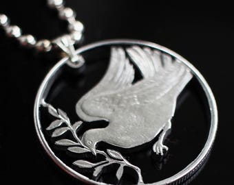 Dove Of Peace Pendant Hand Cut Vatican Coin 27,75 mm. 100 lir, 1975yr.
