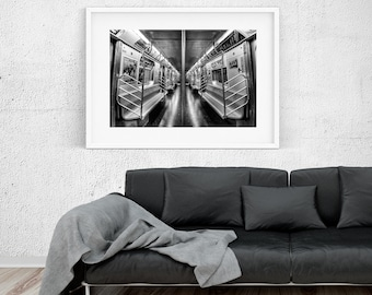 NYC subway N train - New York Photography, Black and White, Architecture, Wall Art, NYC, Fine Art Print, Urban Art, Home Decor