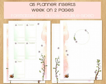 Watercolor A5 SIZED Inserts with SPRING THEME, 1 Week on 2 Pages, Vertical or Horizontal Layout - English and French