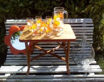 pitcher jug and glasses orangeade, lemonade Vintage 60s decor