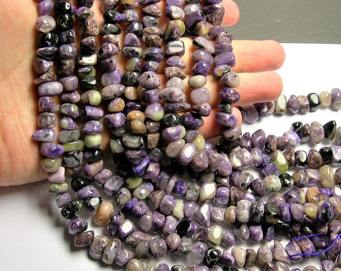 Charoite Gemstone -  rounded nugget - 57 beads - 16 inch - Big chaorite beads - PSC410
