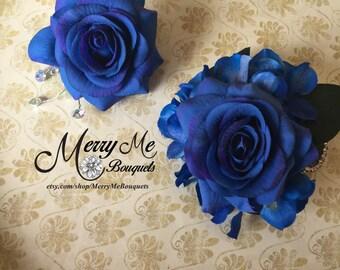 Blue Corsage - Blue Boutonniere - Royal Blue Corsage Set - Royal Blue Boutonniere - Blue Rose Corsage - Blue Rose Boutonniere