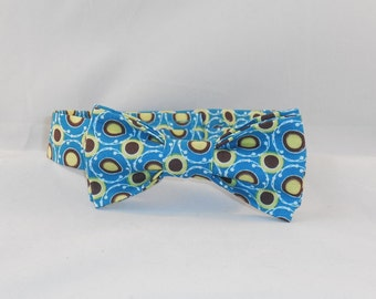 Blue, Brown And Citron Men's Adjustable Bow Tie