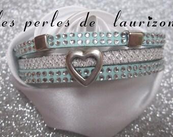 Small blue and white Rhinestone Heart bracelet