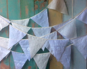 Beautiful white/ivory bunting garland made from recycled broderie anglaise