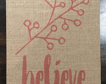 Believe | Inspire | Burlap Fabric Print | Rustic Decor | Nursery Decor | Home Decor | Nature | Branch