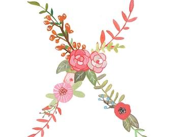 X - Floral Letter Illustration - Typography Print