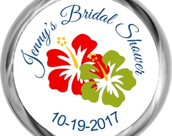 Luau Theme Bridal Shower Stickers - Personalized Bridal Shower Candy Favors, Water Bottle Labels, Address Labels, etc.