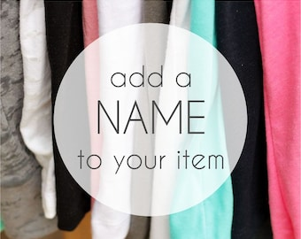 add a NAME to your item