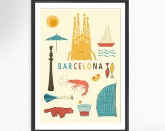 Barcelona poster Spain Art print Gaudi arquitecture poster art wall decor poster Artwork Gift  home decor (053)