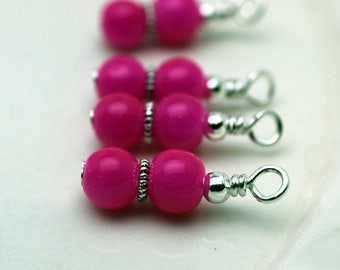 Fuschia Pink Bead Earring Dangle Charm Drop Set, Anime, Pink Dangles