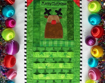Rudolph Advent Calendar | Reindeer Christmas Countdown Calendar | Rudolph Countdown to Christmas | Red Nosed Reindeer | Quilted Calendar