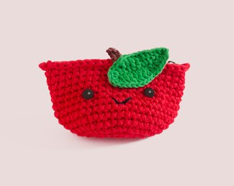 Coin purse - Crochet the Red Apple   Crochet Coin Case   Small Round Pouch   Gift for Her   Pinch.