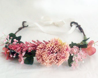 Pink flower crown for ceremony, wedding - J&T accessories - Women, bride, bridesmaid or bachlorette party accessory, adjustable