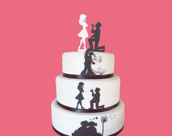 Black Fiance & White Fiancee Cake Toppers Engagement - high quality acrylic, 3mm thickness