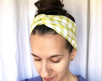 Green hair scarf - cotton hair scarf - gingham headband - spring headband - Hair scarves for women