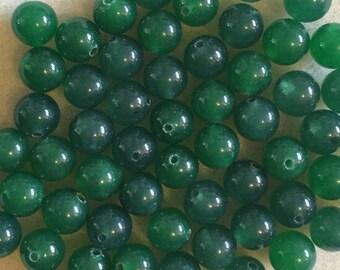 25 round 8mm Dark green jade beads
