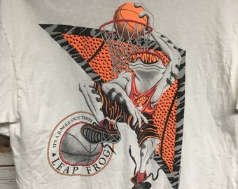 Vintage 90's Basketball dunking frog Lifeforms International tshirt 90's neon colors tee Save By The Bell style Basketball - Medium