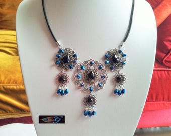 Triple necklace silver, Midnight blue and black strands