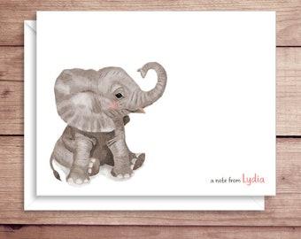 Elephant Note Cards - Elephant Folded Note Cards - Personalized Elephant Stationery - Elephant Thank You Notes - Safari Note Cards