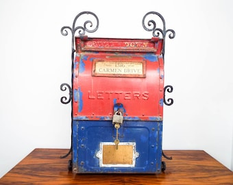 Vintage 40s Cast Iron US Mail Mailbox Red Blue Wall Mount Letterbox for Letters