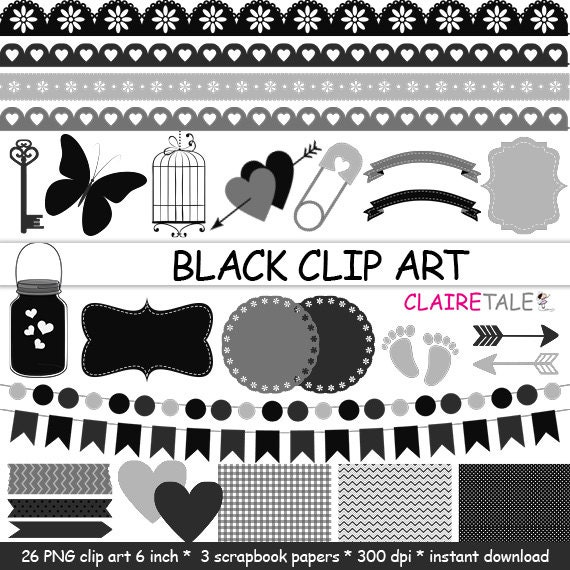 "Digital ""BLACK CLIP ART"" frames, labels, ribbons, borders, flags, arrows, butterfly, lights, hearts, mason jar, key, bird cage, baby shower"