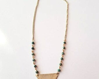 African Turquoise and Brass Cut Out Necklace