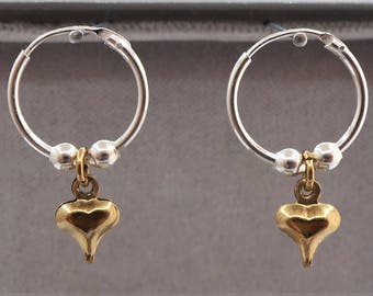 Sterling Silver Sleeper Hoop Earrings with Heart Charm & Silver Beads.