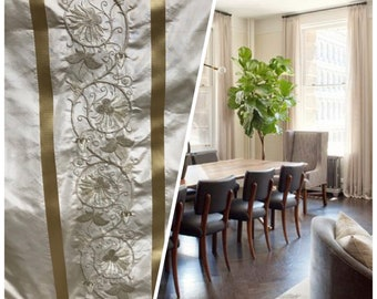 5 yard remnant!!! 100% Silk Taffeta Embroidered Drapery Fabric - Beige and Gold- Sold By The Yard