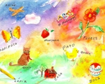 Original Watercolor Painting * SPANISH WORDS For CHILDREN * Small Art Format by Rodriguez * Child Decor